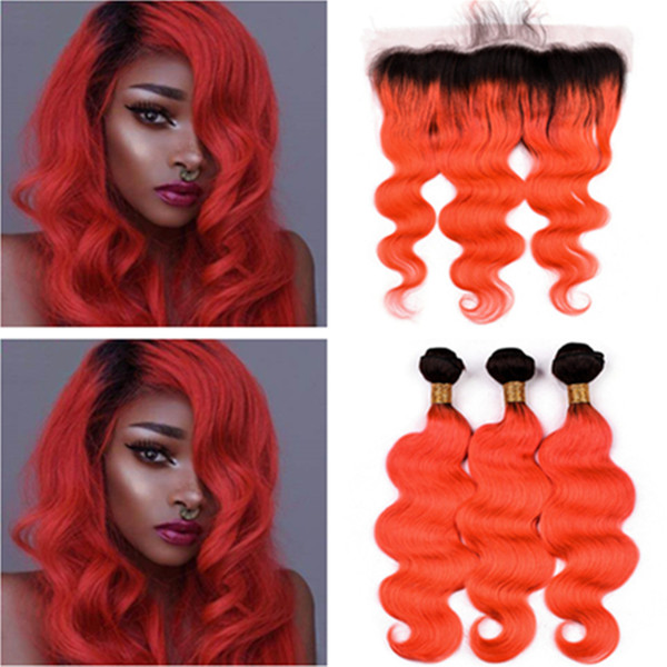 Ombre Orange Body Wave Hair Bundles with Frontal Peruvian Human Hair #1B/Orange Ombre Wavy 3Bundles with 13x4 Lace Frontal Closure 4Pcs Lot
