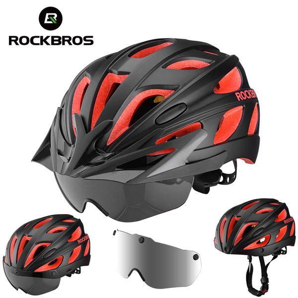 ROCKBROS Bike Helmet Magnetic Goggles Bicycle Helmet Men Women Cycling Helmets with UV Sun Lens Visor Brim MTB Safety Protect