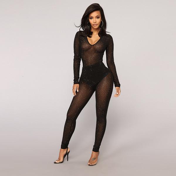 MUXU tuta nera pagliaccetti delle donne tuta di un pezzo sexy trasparente corpo femme tuta playsuit manica lunga partito tuta