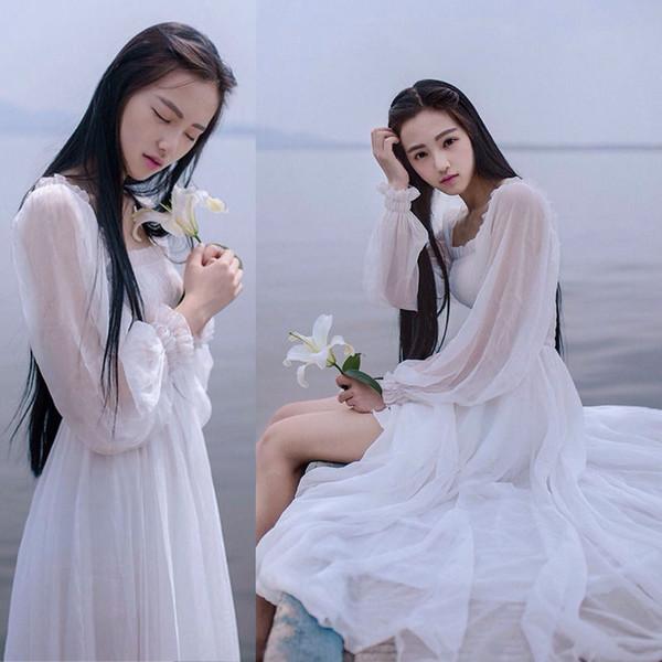 Women Chiffon Maxi Dress White Lantern Sleeve Fantasy Princess Floor Length Long Dress Summer Casual Evening Party Vacation Beach Dress 2019