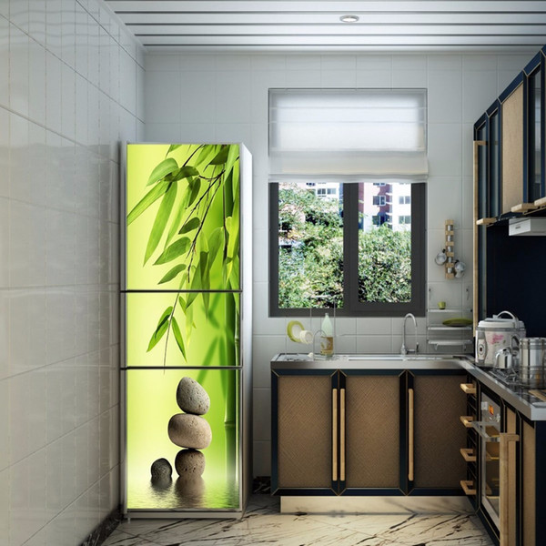 Wholesale Stones And Bamboo Leaves Selfadhesive Dishwasher Refrigerator Freeze Sticker Kid S Art Fridge Door Cover Wallpaper Large Wall Sticker Large