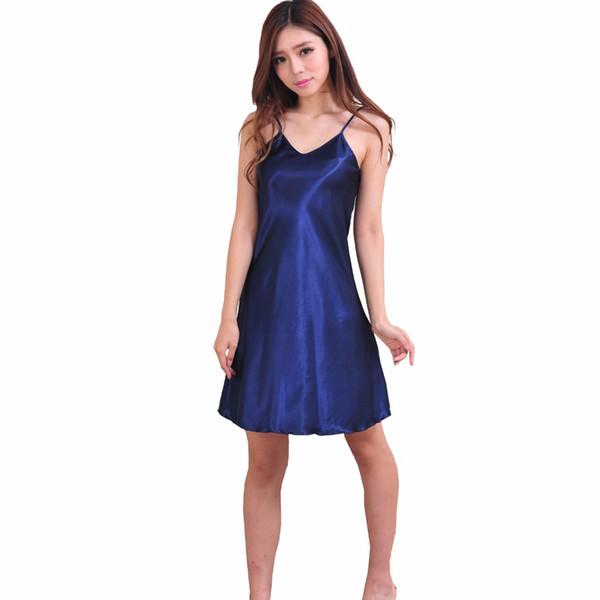 Navy Blue Womens V-Neck Strap Robe Bath Gown Summer Faux Silk Nightgown Home Wear Sleepwear Nightdress Pajamas Size S-XXXL