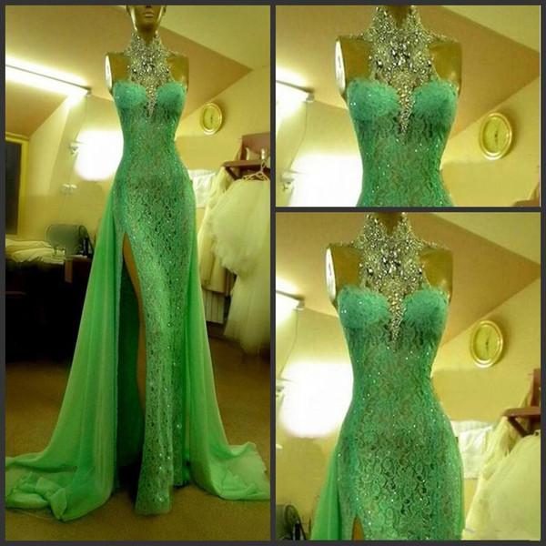 Green Prom Dress Crystal Diamond High Collar Evening Dresses 2019 Dubai Emerald Green Lace Side Slit Long Arabic Formal Prom Gown
