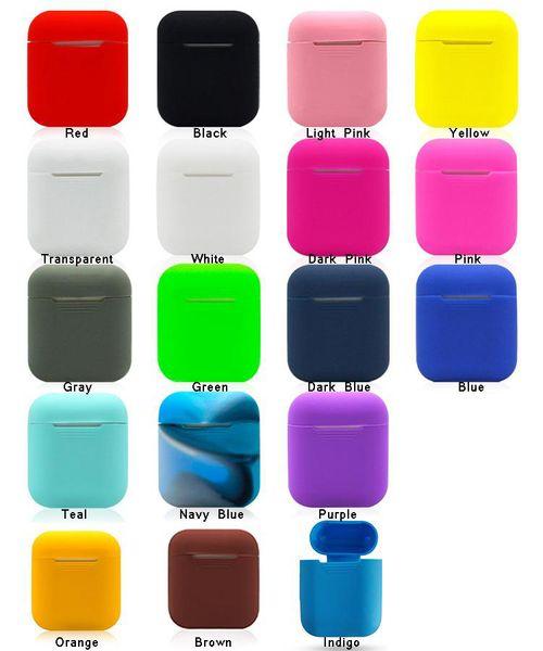 18 colores para Apple Airpods Funda de silicona Soft TPU Funda protectora ultra delgada Funda de manga para Air pods Auricular Funda