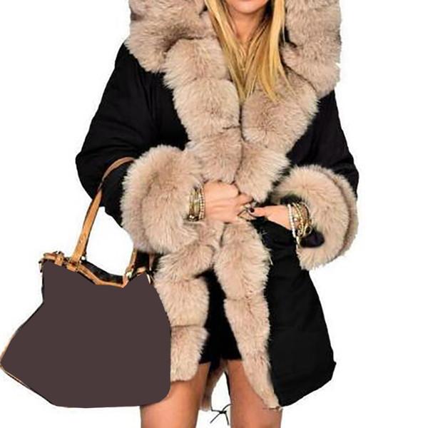 Women's Luxury Fur Collar Winter Parkas Thick Warm Long Coat Hooded Faux Fur Camouflage Jacket Overcoat Outwear Female 5XL M0277