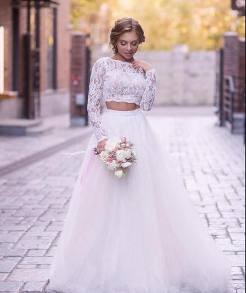 Discount 2019 New Beach Wedding Dresses Crew Long Sleeves Lace Bride Gowns Two Pieces Princess Applique Boho Robes De Mariée With Tulle Bridal Dress