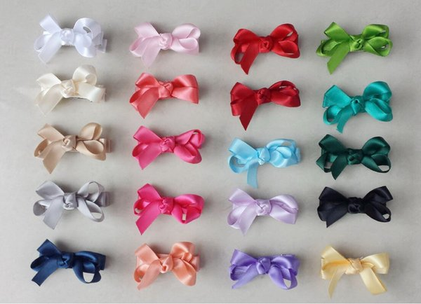 100pcs mini hair accessories satin ribbon bow clips covered lined Double Prong Duckbill Alligator Hairpin Boutique Baby Girl headwear FJ3238