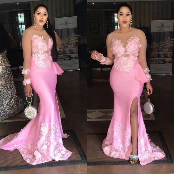 2019 New Mermaid Pink Sheer Long Sleeve Muslim Elegant Evening Dresses Front Split Stretch Satin African Dresses Black Girl Prom Gowns