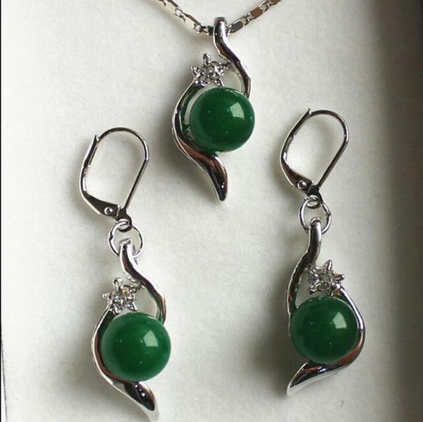 Set di gioielli per collana 10mm orecchini pendenti con pane verde