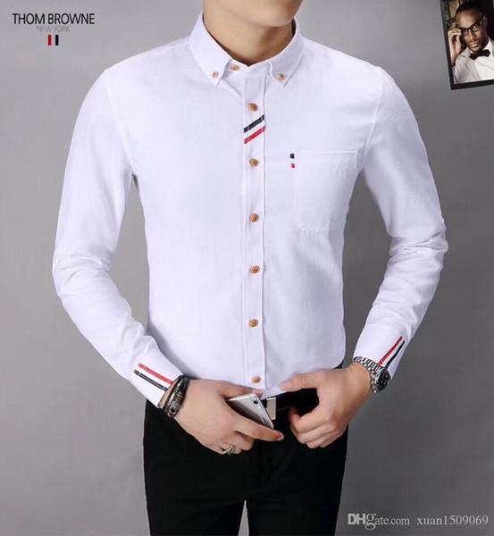 Erkek uzun kollu gömlek erkek ilkbahar ve sonbahar saf pamuk Kore moda rahat yakışıklı beyaz astar elbise erkek gömlek