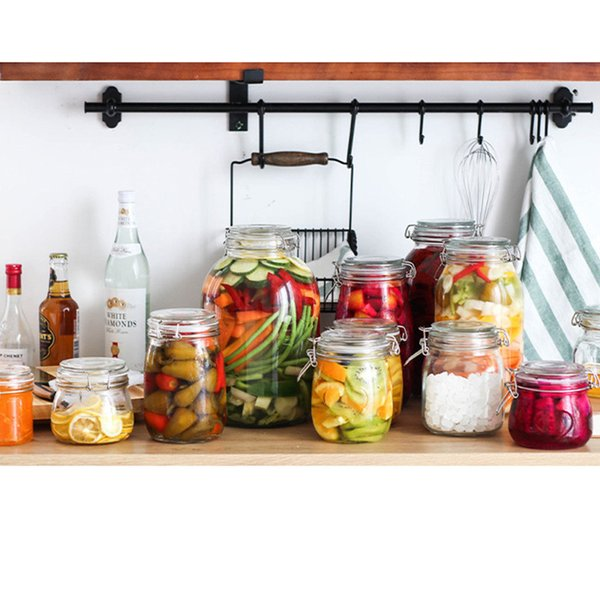 2019 Glass Food Storage Canister Food Storage Jar Bottle With Lid Large  Capacity Glass Seal Cans Kitchen Storage & Organization From Hoakyglass, ...