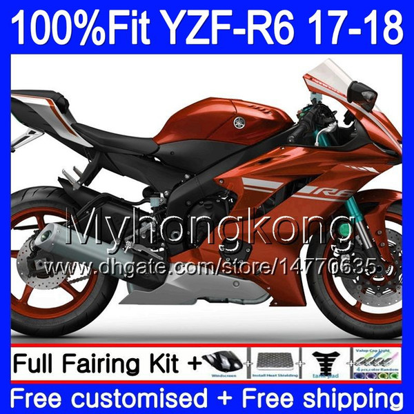 Корпус впрыска для YAMAHA YZF600 YZF R6 YZFR6 2017 2018 248HM.19 YZF 600 YZF R 6 глянцевый оранжевый YZF-600 YZF-R6 17 18 обтекатели комплект + 7Gifts