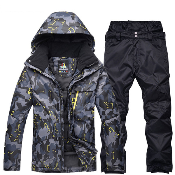 Cool black grey Man professional Snowboarding clothes Ski suit sets Waterproof windproof winter outdoor costumes snow jackets + pants