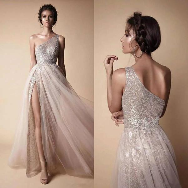 2018 um ombro vestidos de baile berta elegante tule lace longo dividir o assoalho de comprimento vestidos formais vestidos de festa vestidos de fiesta