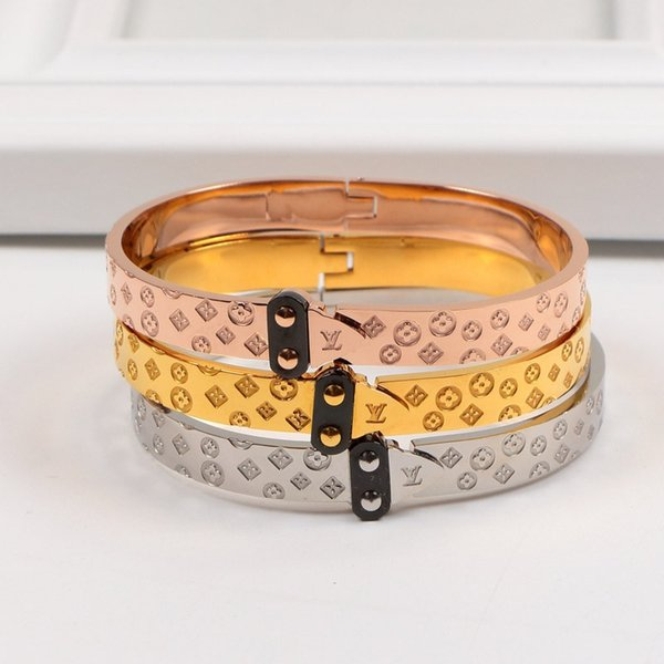 Classic L Carving Bracelets Birthday Gifts For Men Women Brand Bangles High Street Personality Design Lovers Bracelet