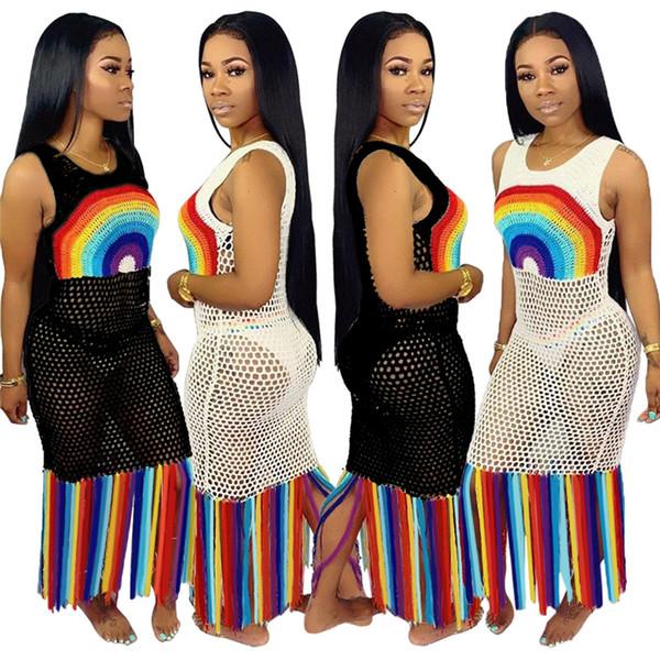 Mujeres Sheer borla vestidos de playa impresión del arco iris sexy vestidos largos trajes de baño más el tamaño de ropa de verano S-3XL NUEVA moda 574