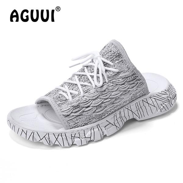 Mens Chinelos Respirável Ao Ar Livre Sapatos de Praia Peep Toe Masculino Casual Conforto Slides Chanclas Hombre Tamanho 39-44