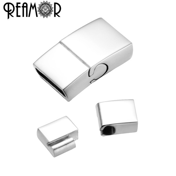 REAMOR 10*3mm Stainless Steel Magnetic Clasp Oblate Buckle Hook For Leather Cord Bracelet Connectors DIY Jewelry Making Findings