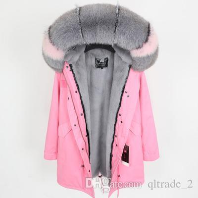 concepteur Lavish gris renard rose garniture de fourrure Sweat à capuche marque Maomaokong doublure fourrure de lapin gris rose femmes longues parkas manteaux de neige