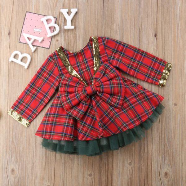 Christmas Baby Girl Princess Dress Elegant Formal Party Xmas Cute sequin Dress Xmas Infant Bowknot kids Clothes
