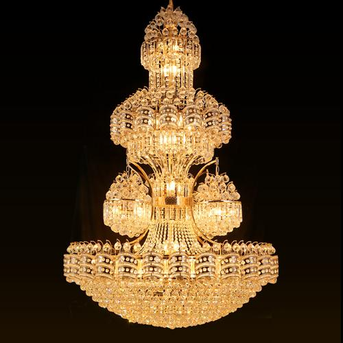 led crystal chandelier light noble luxury high-end pendant lamp large American vintage style hotel project construction lights factory price