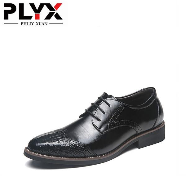 PHLIY XUAN New 2019 Mode Homme Chaussures En Cuir Véritable Chaussure Homme Homme Habillé Chaussures Noir Marron Hommes Chaussures Formelle