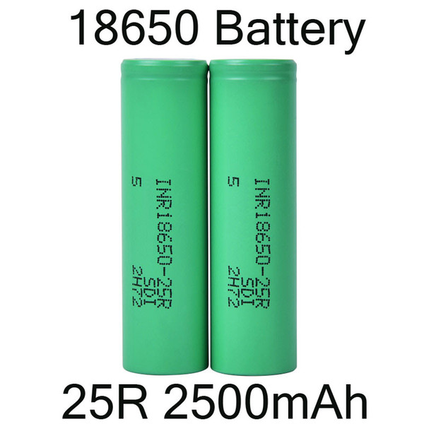 best selling 2500mah INR 25R 18650 Battery With Lithium Battery Flat Top Rechargeable Batteries for Flashlight Headlamp DHL Free FJ752