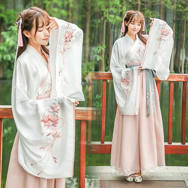 Chegam novas Mulheres Traje Chinês Hanfu Folk Chinês Antigo Traje Orient Oriental Dinastia Tang Cosplay