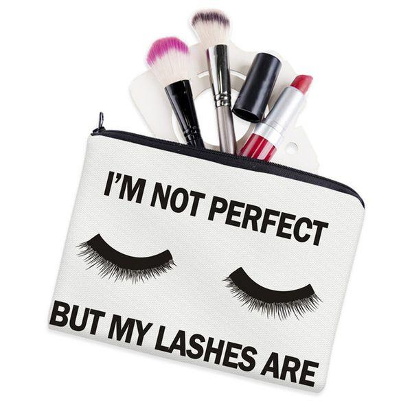 Lashes White 3D Printing Makeup Bag Neceser Cosmetic Case Dream Big Fashion Women Trousse De Maquillage Organizer Pencil Case
