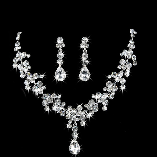 4 Set Bridal Wedding Jewelry Necklace Earrings Set Wedding Jewelry Hot Sale Cheap Wedding Bridal Accessories 4color