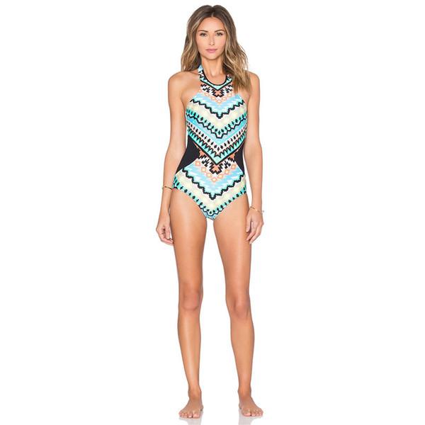 Miglior affare 2019 Monaco stampato Bikini One Piece Beachwear Backless Halter Neck Maillot Bikini De Bain Femme