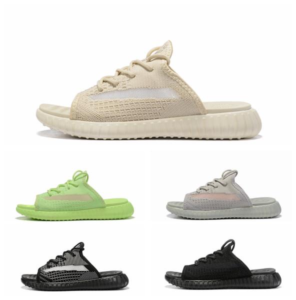 2019 En Kaliteli V2 Erkek Terlik Ayakkabı Statik Yansıtıcı Gerçek Formu Kil Erkekler flip flop Kadınlar terlik tasarımcı slaytlar Boyutu 36-45