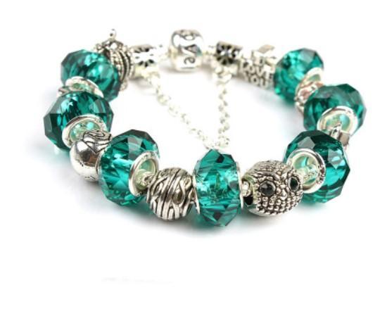 Green 2017 Pandora Style Charm bracelets Fashion S 925 Murano Glass & Crystal European Charm Beads Fits Charm bracelets Bangles DIY Jewelry