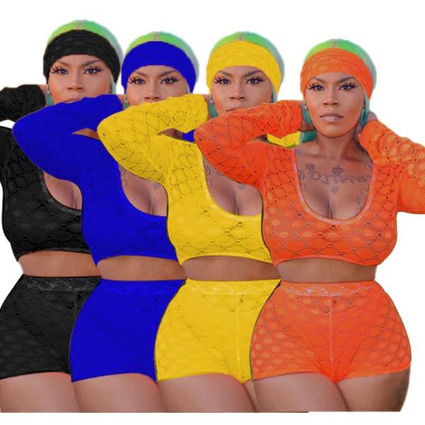 2019 femmes d'été en dentelle voir si survêtements manches longues crop top shorts costume deux pièces ensemble sexy party club survêtement avec foulard