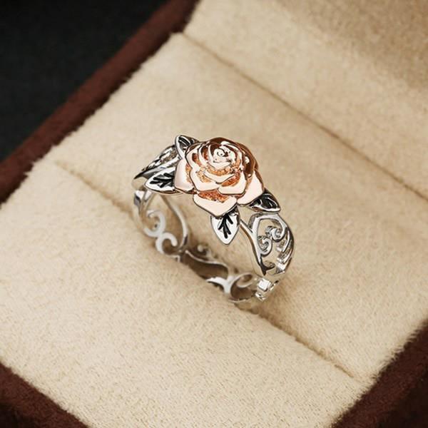 10pcs / Lots Изысканный Two Tone Цветочные кольцо Твердые 14k розовое золото цветка способа ювелирных изделий Предложение Годовщина подарков обручальные кольца Обручальное кольцо