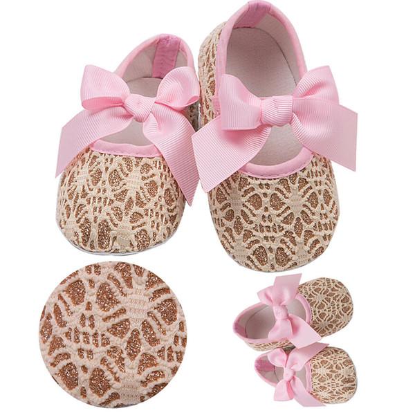 Lovely Infant Toddler Princess First Walkers Newborn Baby Girls Kid Prewalker Soft Soled Shoe Bow Dress lace Shoes Footwear