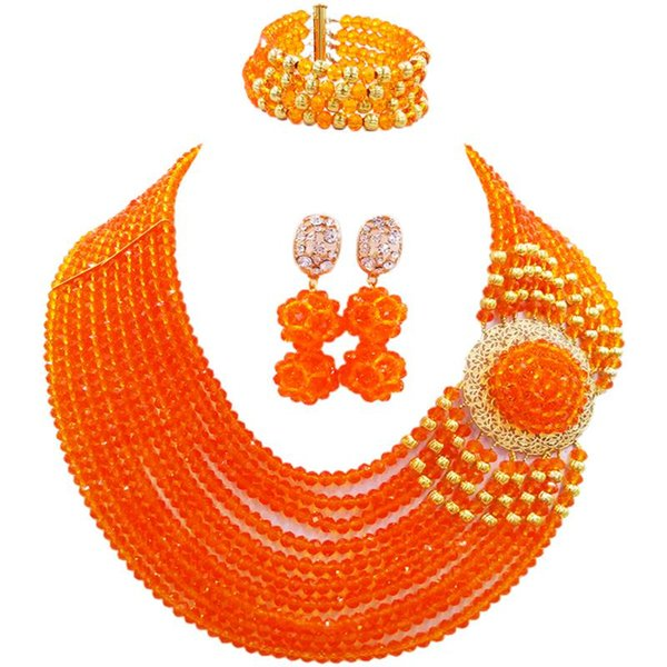 Free Shipping Orange Crystal Beads African Women Party or Daily Necklace Earrings Bracelet Sets 10C-DPH-21