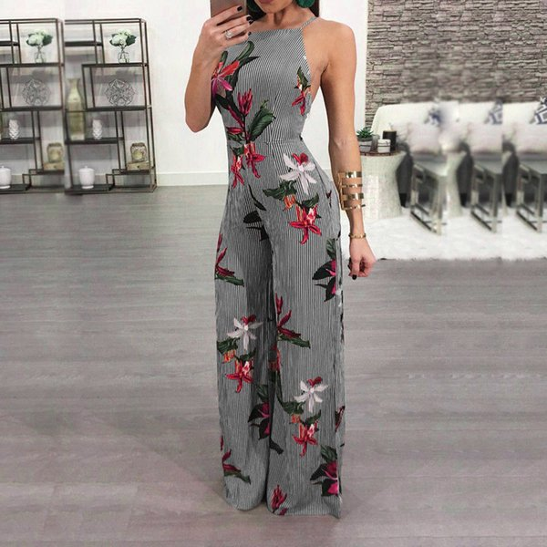 Rompers Women SSummer Stripe Printed Sexy Trouser Casual Rompers Long Bohemia Fashion Jumpsuit Ropa De Verano Para Mujeres