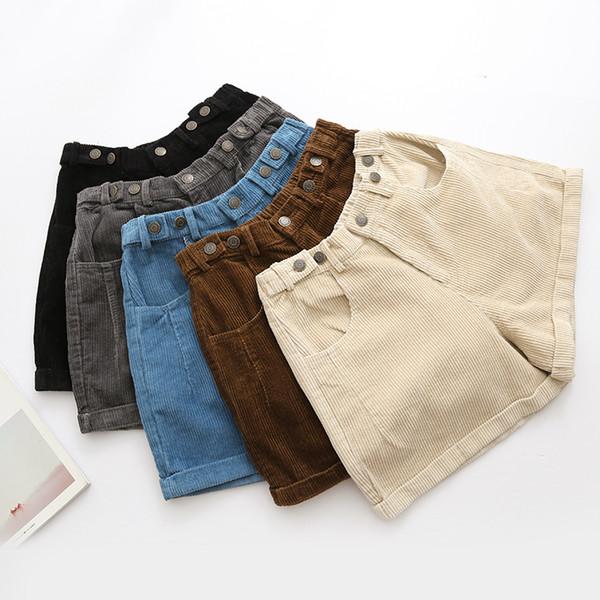 Kış Kadın Şort Kadife Elastik Bel Moda Bağbozumu Manşet Rahat Şort Geniş Bacak 5 Renkler Y19071601