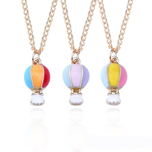 Fashion Rainbow 3 Color Enamel Hot Air Balloon Charm Pendant Necklaces For Women Cartoon Gold Balloons Necklaces Jewelry Collares