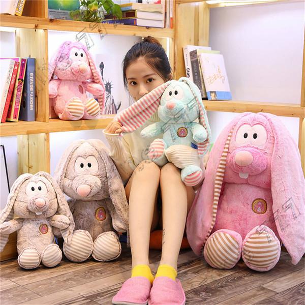 Cute long ears rabbit pink pig doll plush toy children doll birthday gift girl sofa decoration room decoration