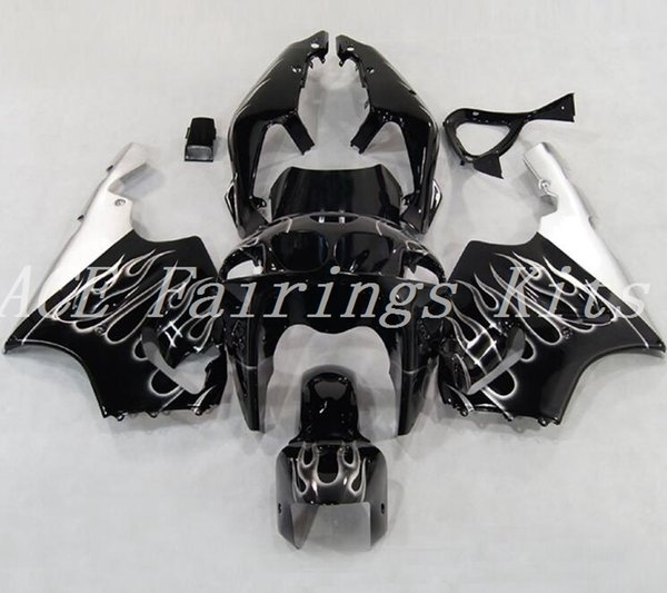 Hochwertige Neue ABS-Motorradverkleidungen passen für Kawasaki Ninja ZX7R 1996-2003 ZX7R 96 97 98 99 00 01 02 03 Verkleidungssätze schwarz weiße Flamme