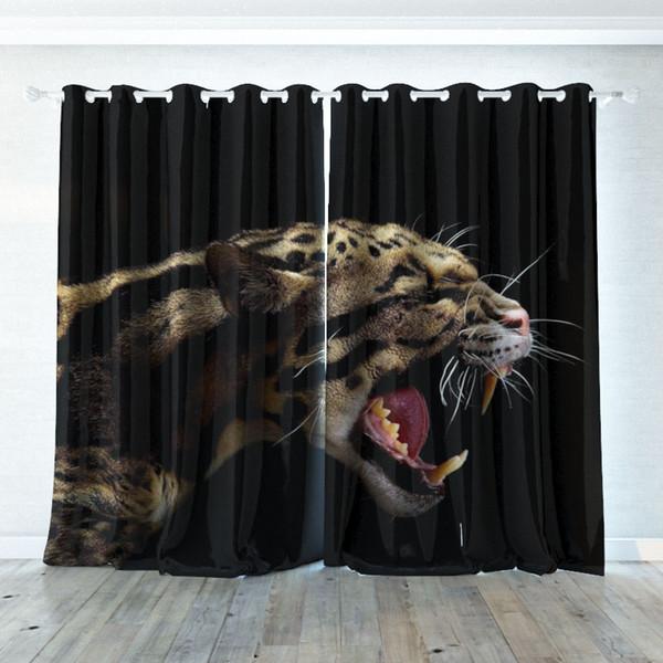 Personalidad de impresión digital 3D Cortina personalizada Leopardo feroz cortinas Extra ancho Cortina Blackout Dormitorio sala de estar Hotel cortina