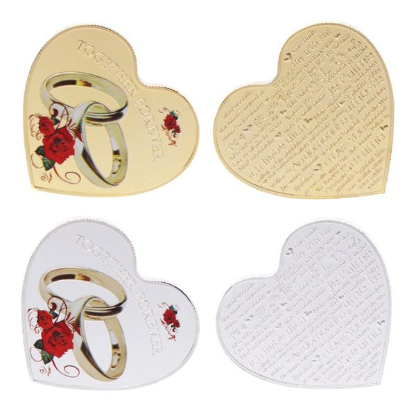 Commemorative Coin Red Rose Rings Together Forever Couple Coins Lover Valentine's Day Collection Souvenir Art Gifts 2 Color