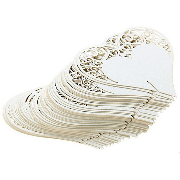 50pcs/lot Wedding Table Decoration Place Cards Laser Cut Heart Floral Wine Glass Place Cards For Wedding Party Decoration