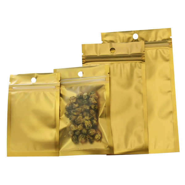 Gold Matte Clear Front Plastic Package Bags Dried Food Tea Electronic Accessories Storage Aluminum Foil Plastic Packing Bags with Hang Hole