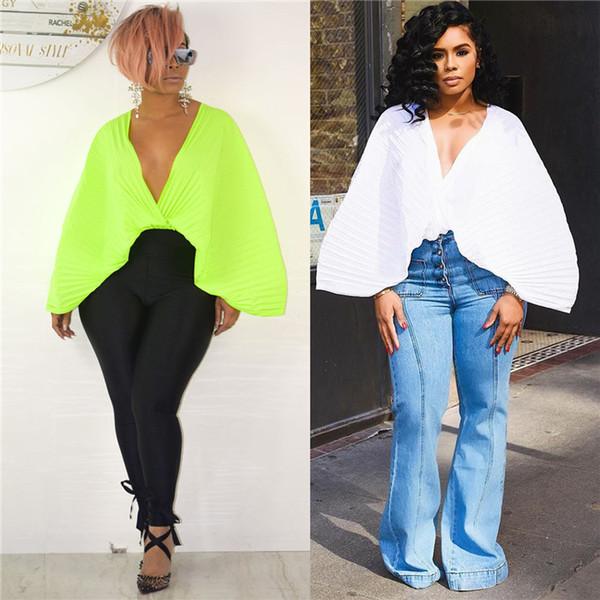 2019 Sıcak Satış Seksi Moda Tasarım İnce Katı Tees Kadınlar Batwing Kollu T-Shirt Derin v yaka Mini Tees 190310 Oymak