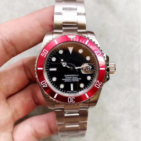 Une montre de luxe de qualité pour hommes montre 40mm cadran noir lunette en céramique rouge 2813 mouvement automatique boucle originale montre mécanique pour hommes