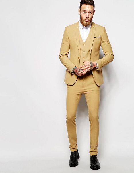 Groom Tuxedos Groomsmen Notch Lapel New Arrival Gold Men Suits Wedding/Prom/Dinner Best Man Blazer ( Jacket+Pants+Vest+Tie ) M1240