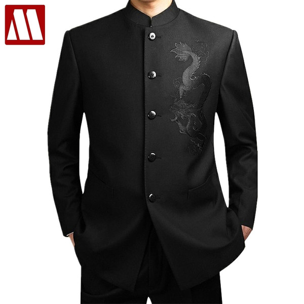 Black Chinese Tunic Men's Traditional Stand Collar Suits Apec Leader Costume Male Embroidery Dragon Totem Suit Big size 4XL C18122501